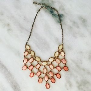 Statement chunky necklace gold ivory pink chocker